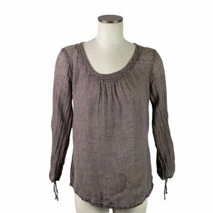 Flax Linen Cinched Long Sleeve Tunic Blouse Brown